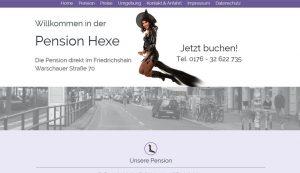 Homepage erstellt für Pension Hexe in Berlin Friedrichshain